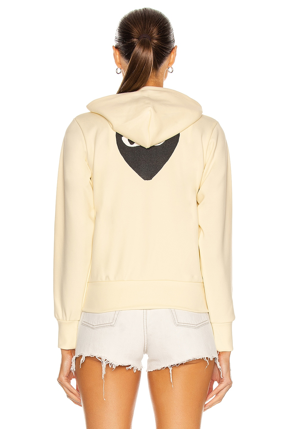 Image 4 of Comme Des Garcons PLAY Big Heart Full Zip Hoodie in Ivory