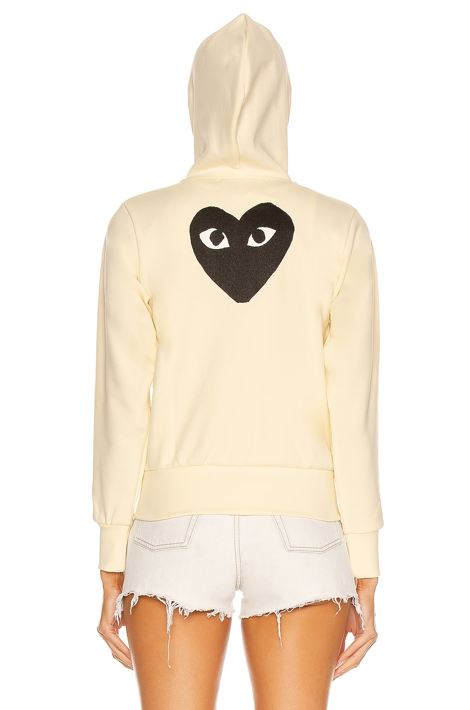 Image 5 of Comme Des Garcons PLAY Big Heart Full Zip Hoodie in Ivory