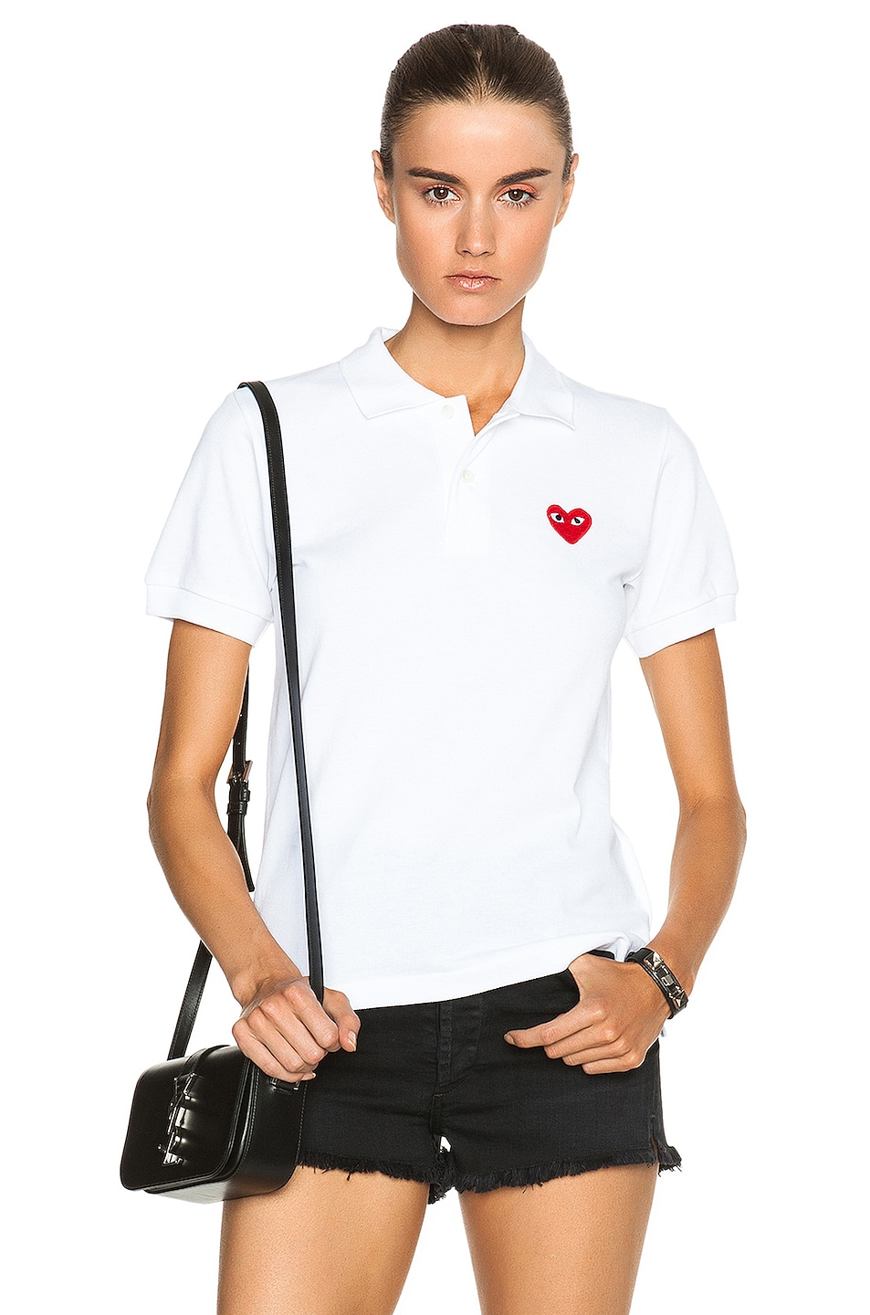 Image 1 of Comme Des Garcons PLAY Cotton Polo with Red Emblem in White