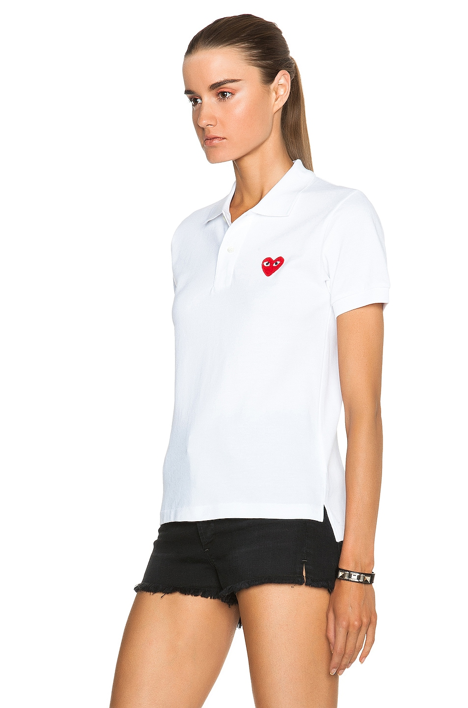 Image 3 of Comme Des Garcons PLAY Cotton Polo with Red Emblem in White