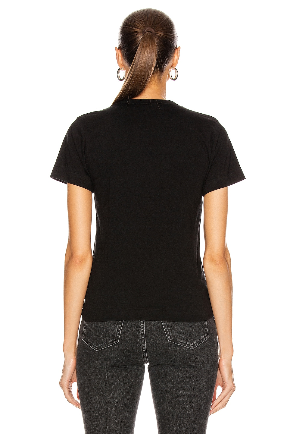 Image 3 of Comme Des Garcons PLAY Cotton Tee with Red Emblem in Black