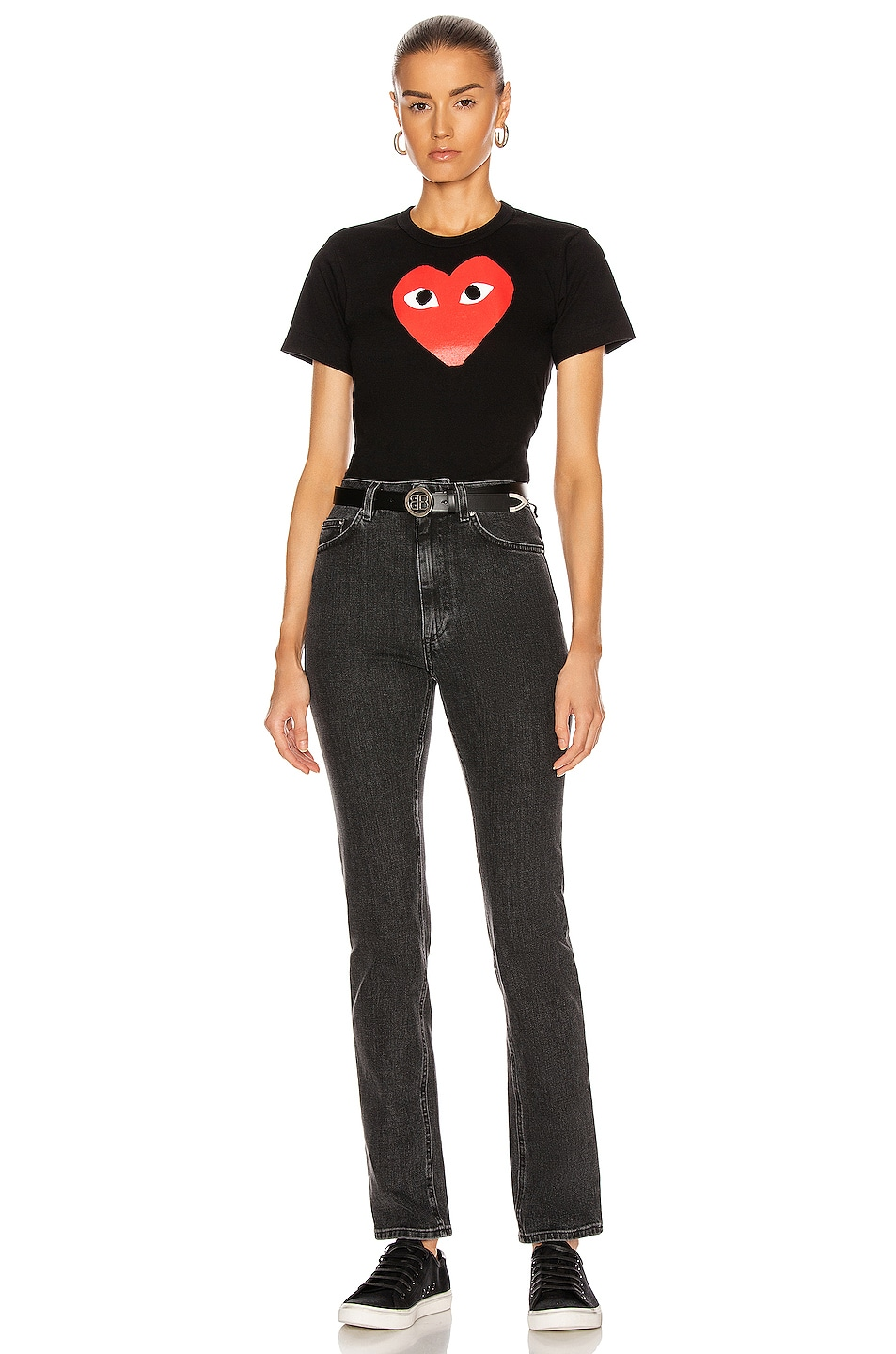 Image 4 of Comme Des Garcons PLAY Cotton Tee with Red Emblem in Black