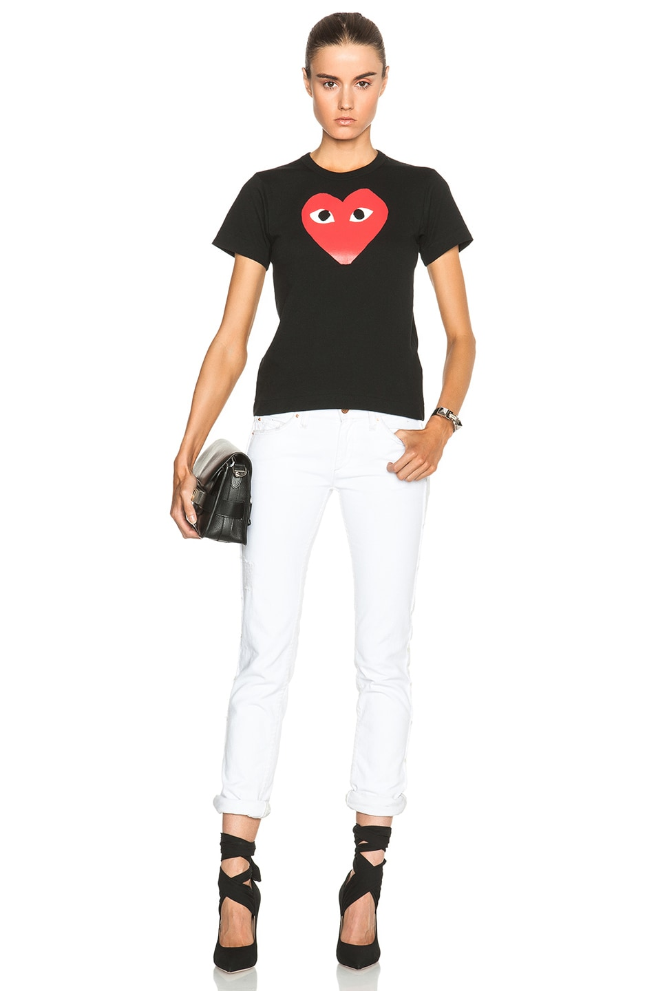 Image 5 of Comme Des Garcons PLAY Cotton Tee with Red Emblem in Black