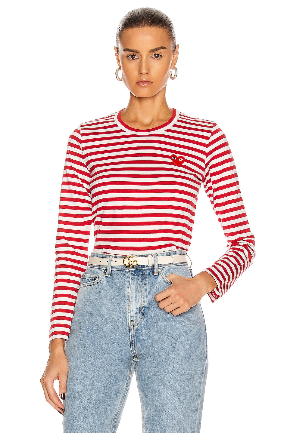 Image 1 of Comme Des Garcons PLAY Striped Cotton Red Emblem Tee in Red & White