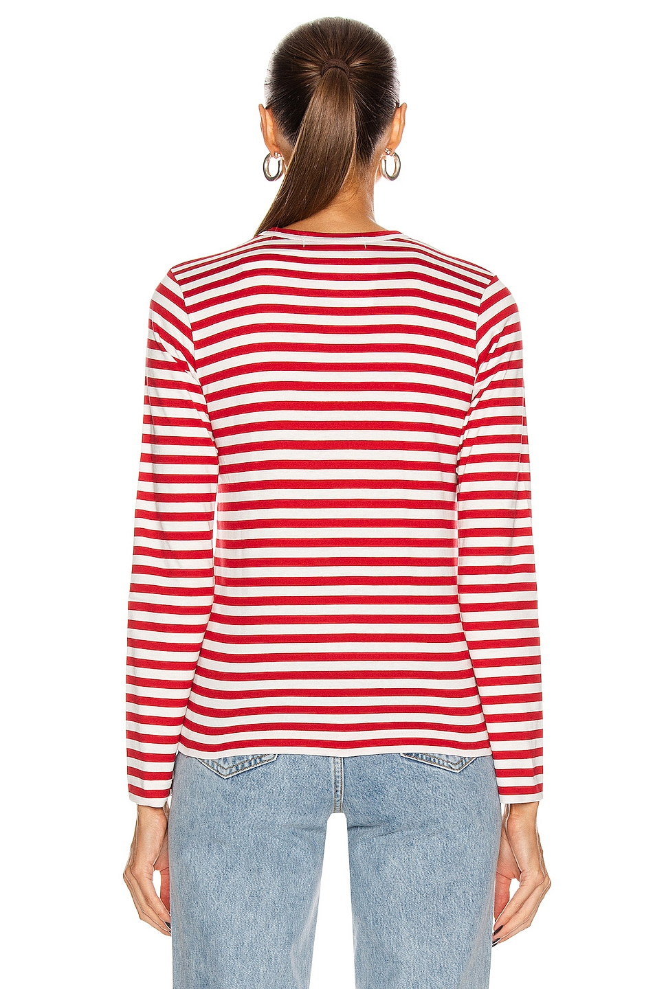 Image 3 of Comme Des Garcons PLAY Striped Cotton Red Emblem Tee in Red & White