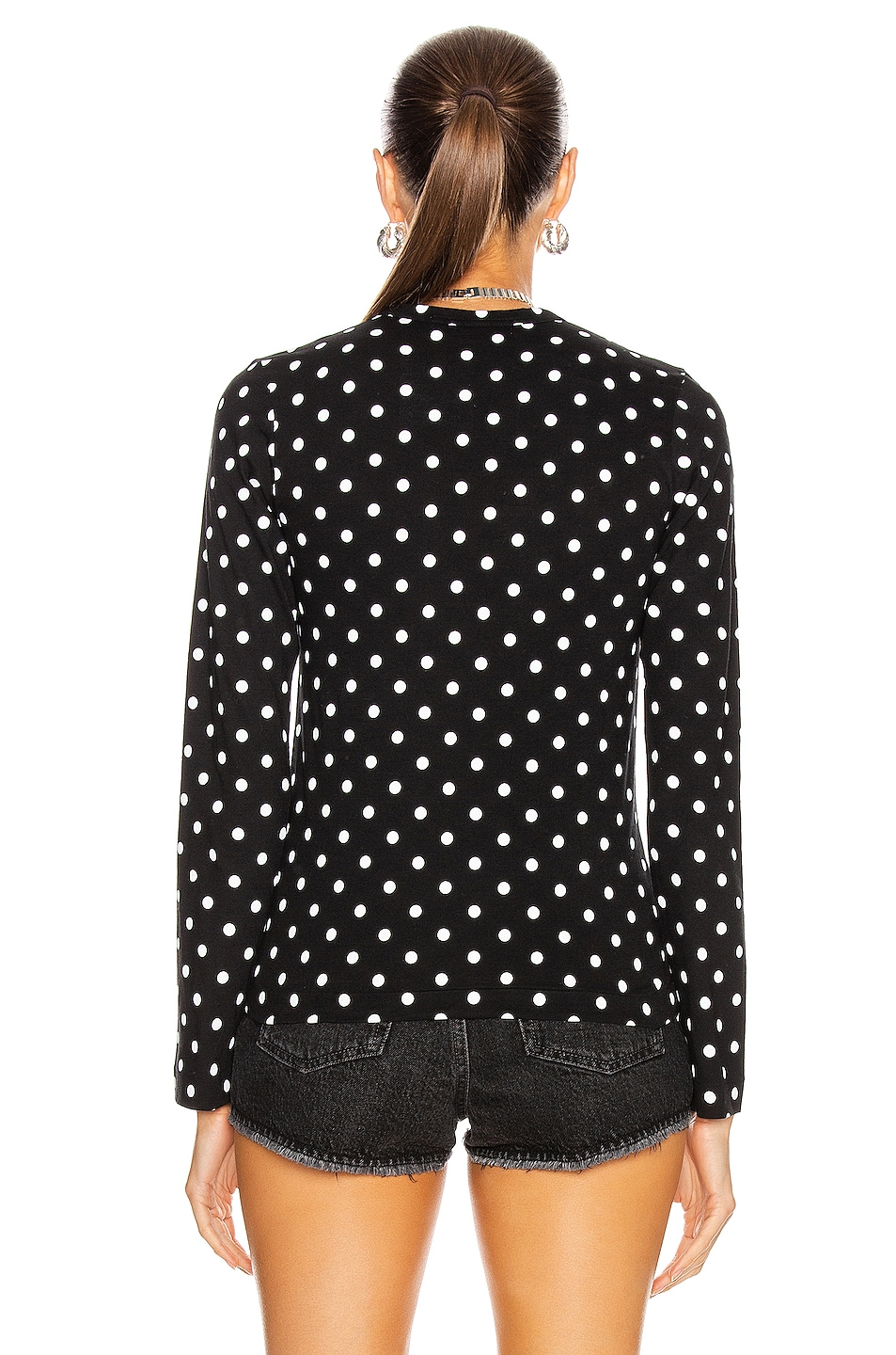 Image 3 of Comme Des Garcons PLAY Cotton Red Emblem Dot Tee in Black