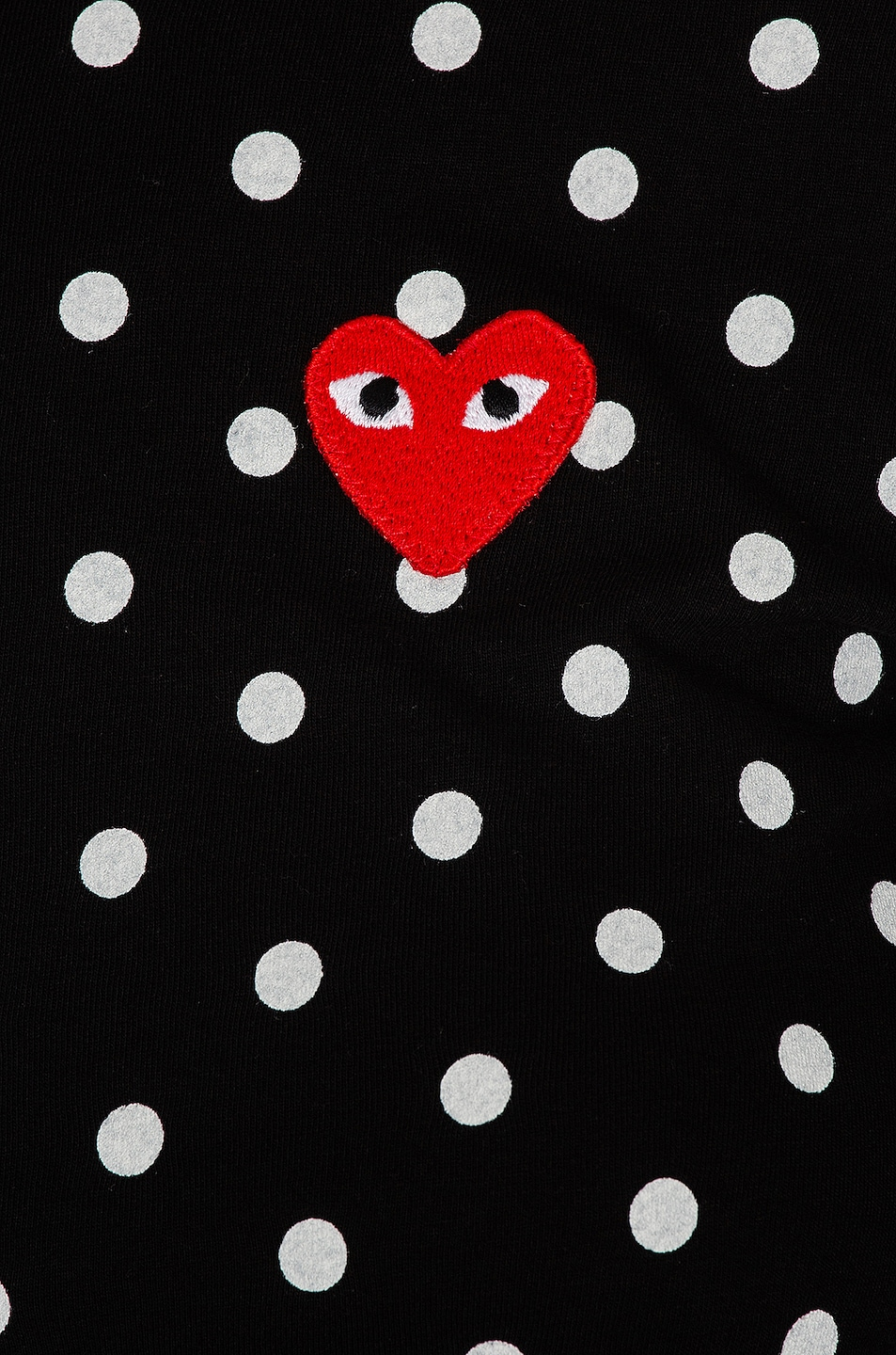 Image 5 of Comme Des Garcons PLAY Cotton Red Emblem Dot Tee in Black