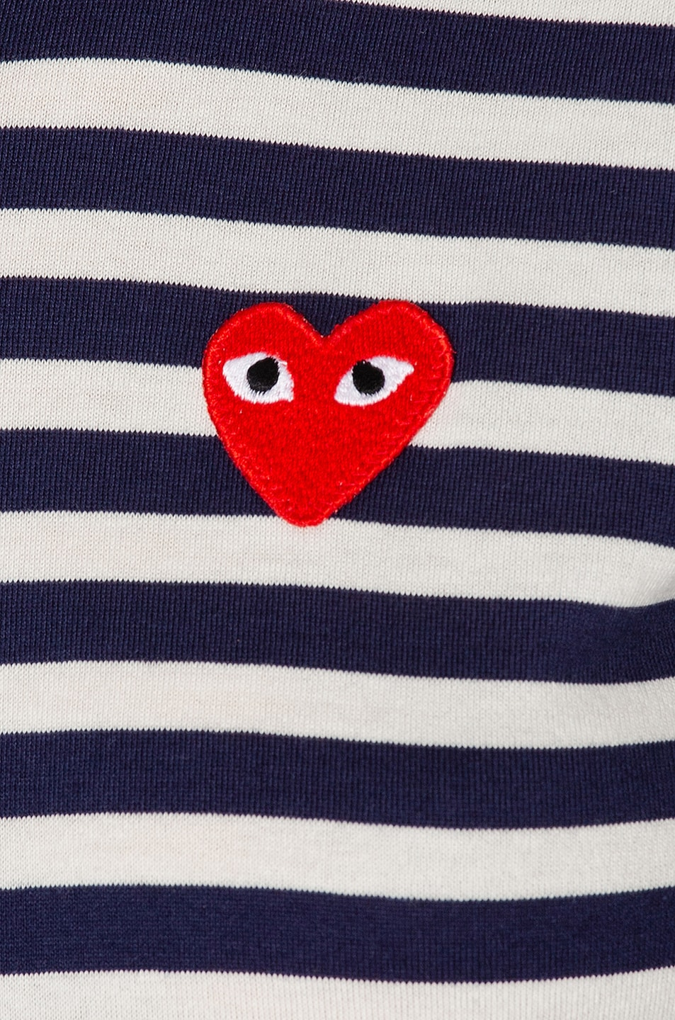 Image 5 of Comme Des Garcons PLAY Stripe Red Heart Tee in Navy