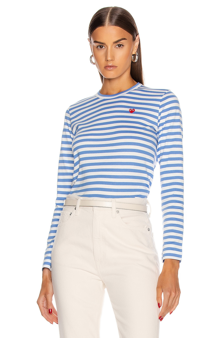 Image 1 of Comme Des Garcons PLAY Striped Small Emblem Tee in Blue