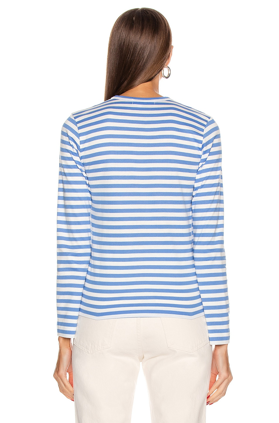Image 3 of Comme Des Garcons PLAY Striped Small Emblem Tee in Blue
