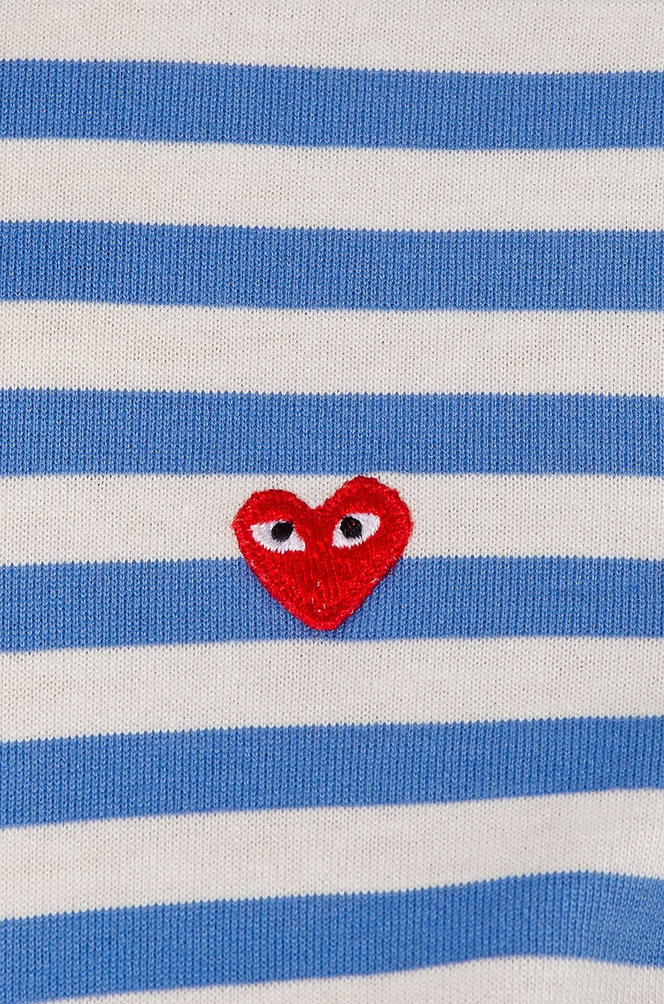 Image 5 of Comme Des Garcons PLAY Striped Small Emblem Tee in Blue