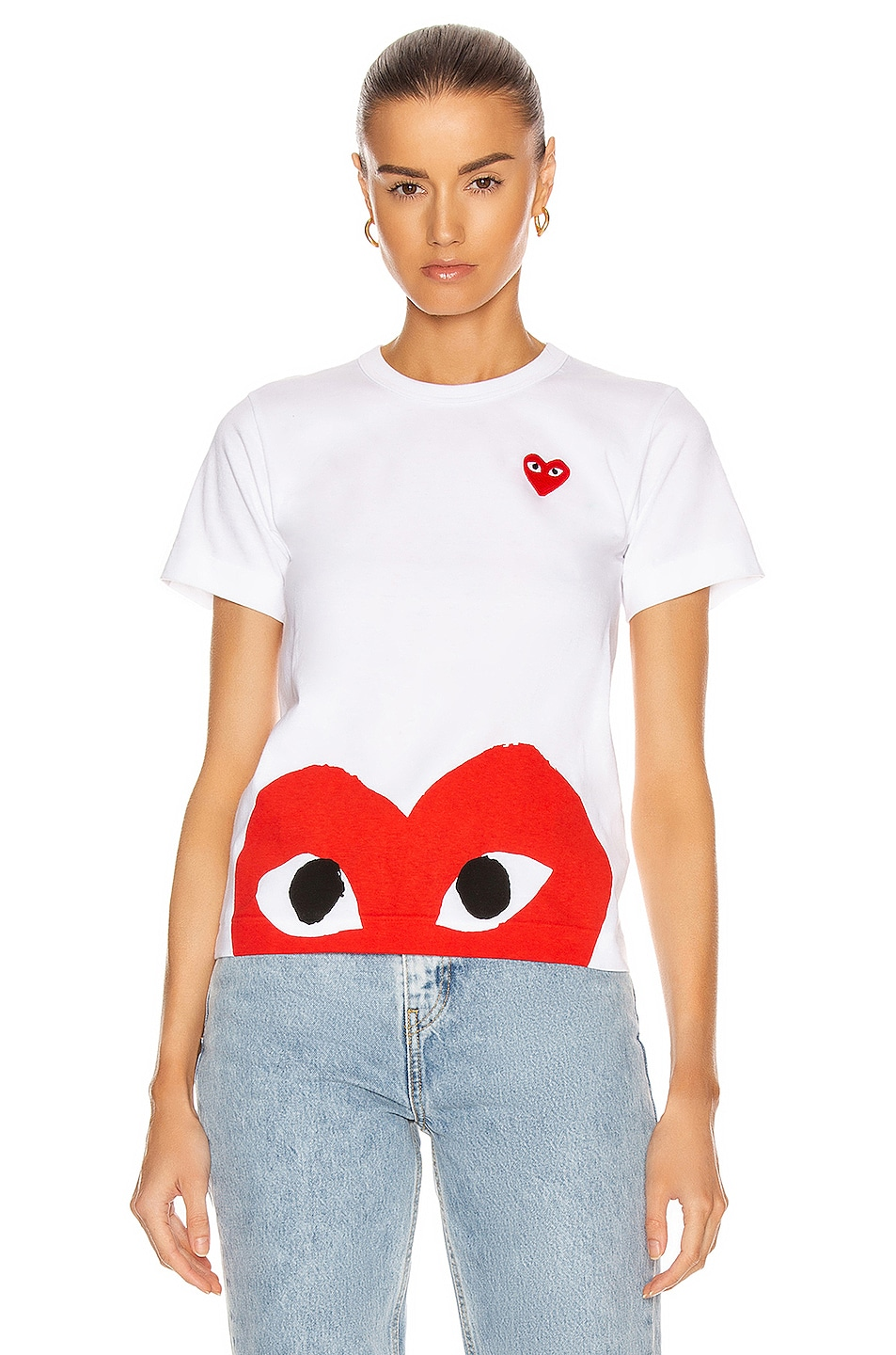 Image 1 of Comme Des Garcons PLAY Red Emblem Heart Tee in White