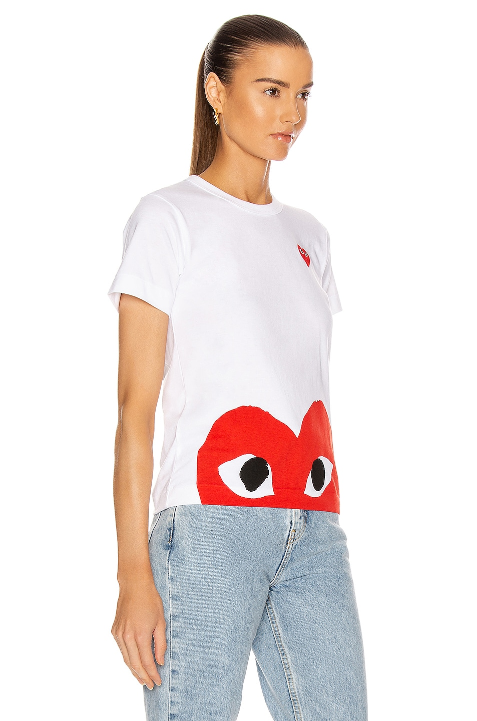 Image 2 of Comme Des Garcons PLAY Red Emblem Heart Tee in White