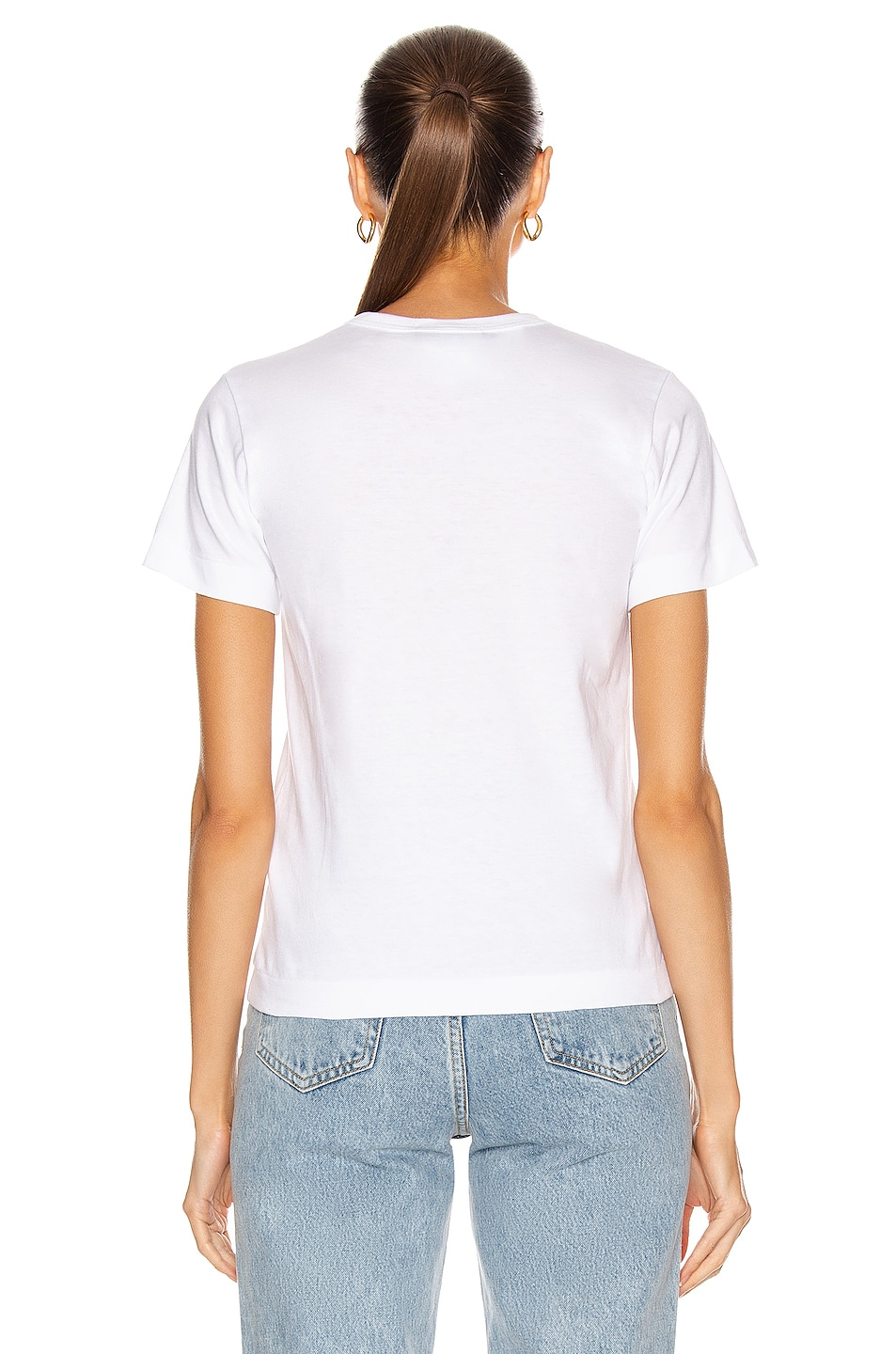 Image 3 of Comme Des Garcons PLAY Red Emblem Heart Tee in White