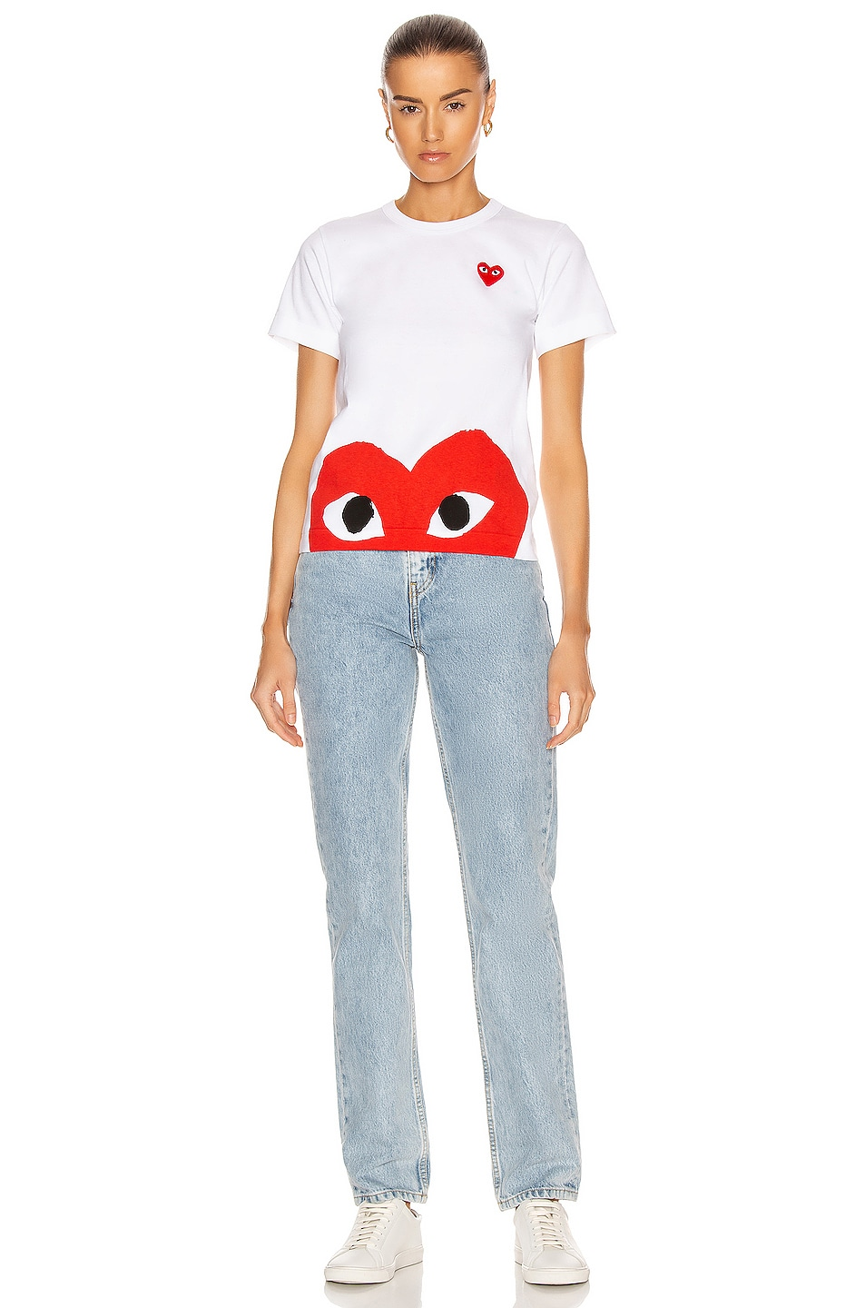 Image 4 of Comme Des Garcons PLAY Red Emblem Heart Tee in White