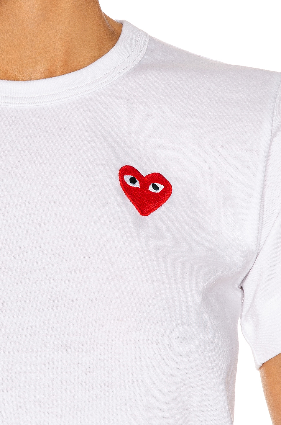 Image 5 of Comme Des Garcons PLAY Red Emblem Heart Tee in White