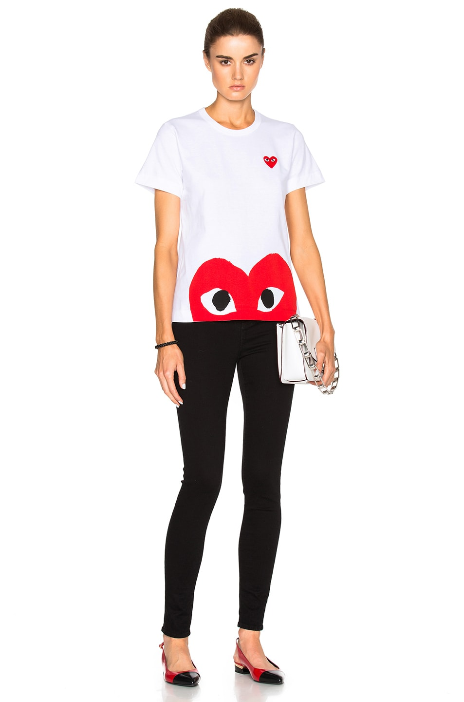 Image 6 of Comme Des Garcons PLAY Red Emblem Heart Tee in White