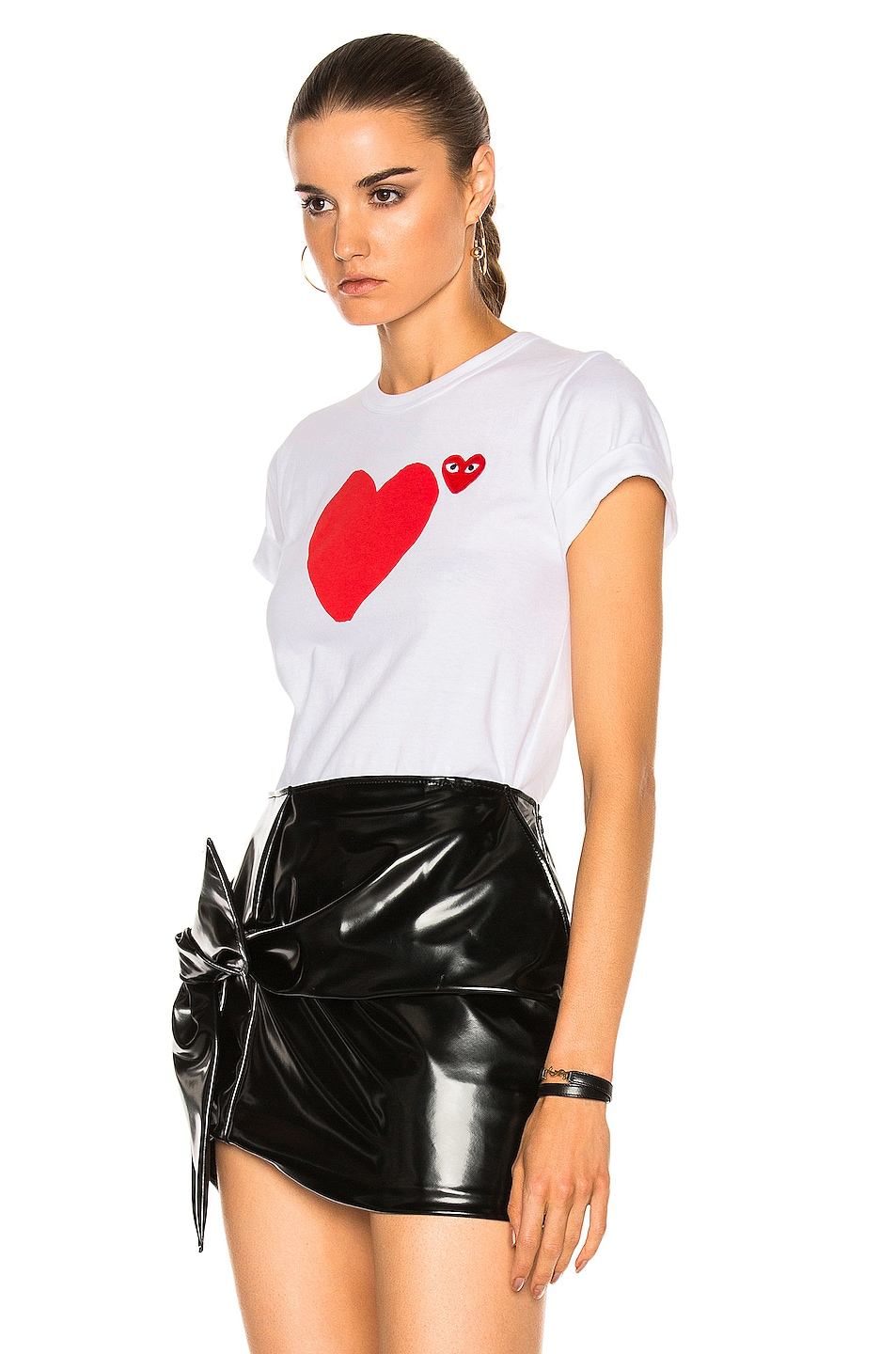 Image 3 of Comme Des Garcons PLAY Reverse Heart Tee in White