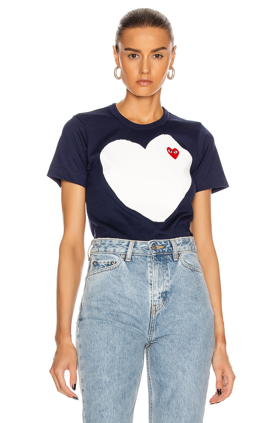 Image 1 of Comme Des Garcons PLAY Tee in Navy
