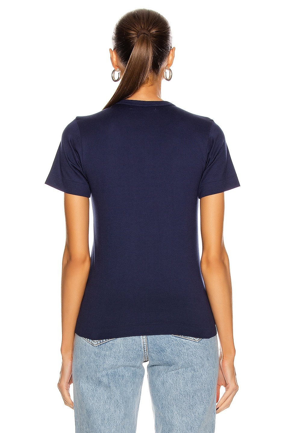 Image 4 of Comme Des Garcons PLAY Tee in Navy