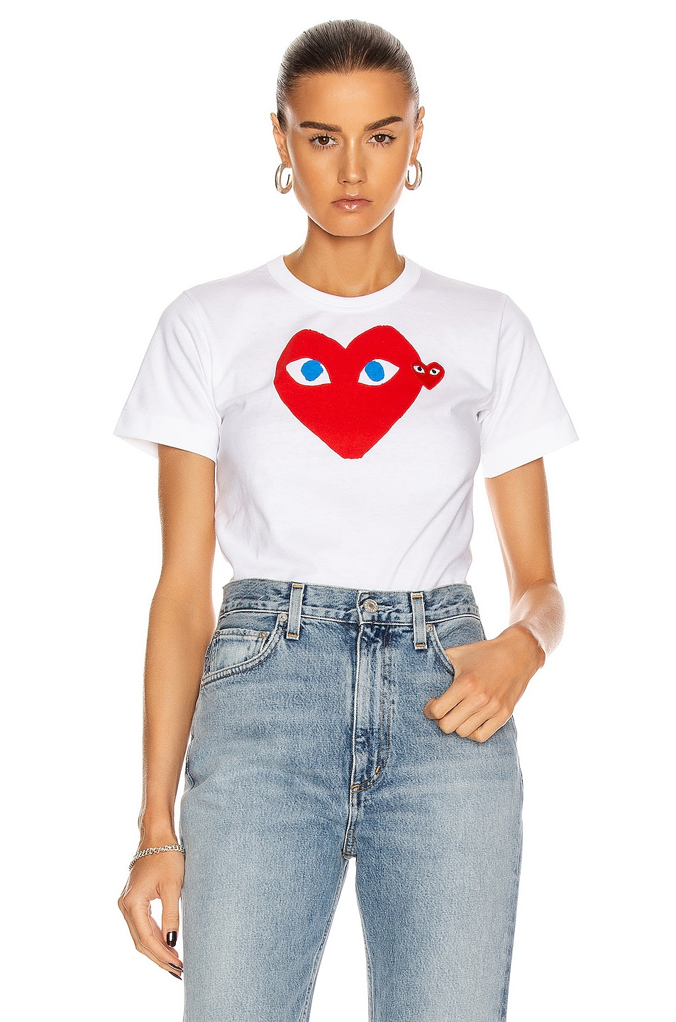 Image 1 of Comme Des Garcons PLAY Cotton Red Heart Emblem Tee in White