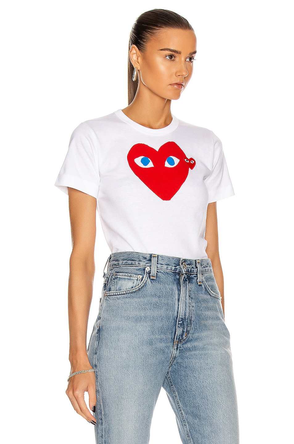 Image 2 of Comme Des Garcons PLAY Cotton Red Heart Emblem Tee in White