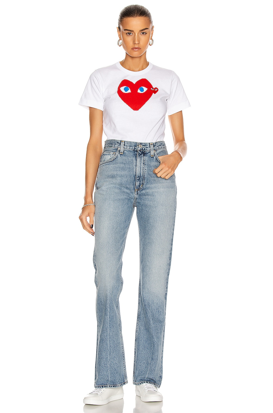 Image 4 of Comme Des Garcons PLAY Cotton Red Heart Emblem Tee in White