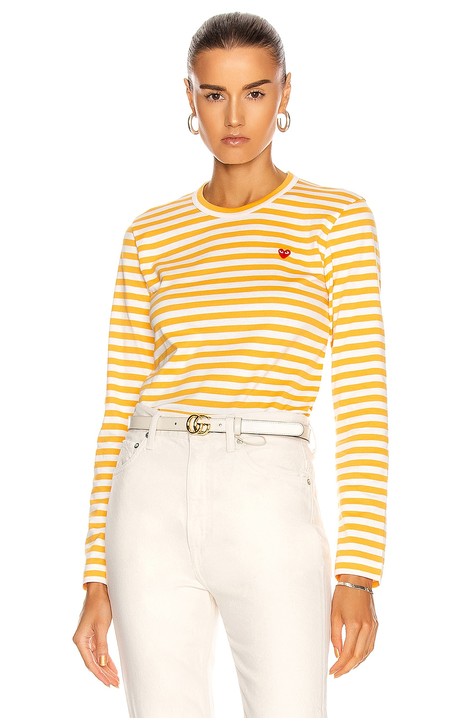 Image 1 of Comme Des Garcons PLAY Small Red Heart Striped T-Shirt in Yellow