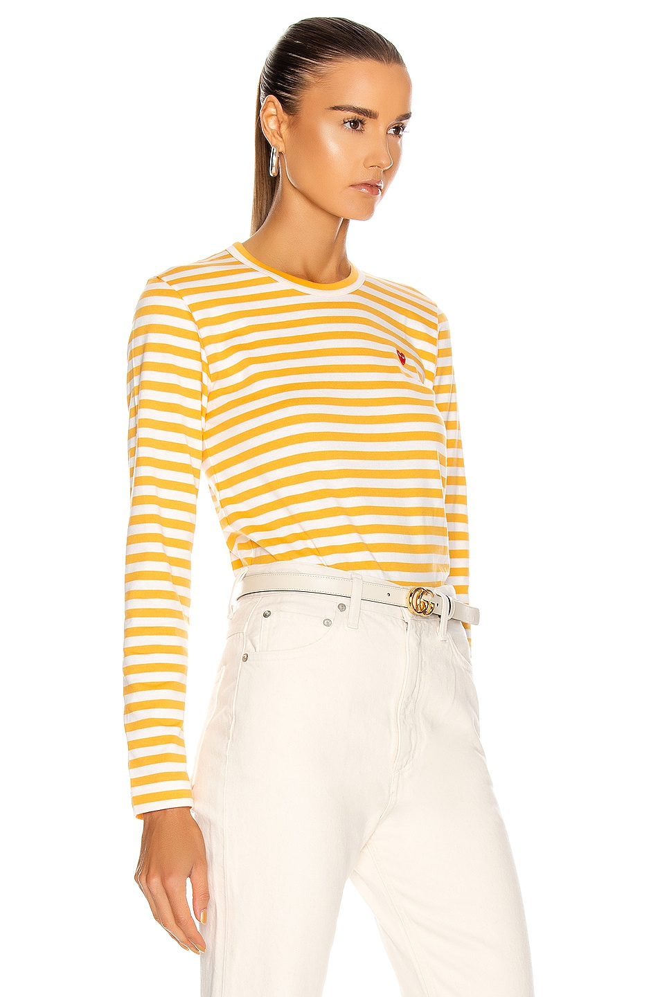 Image 2 of Comme Des Garcons PLAY Small Red Heart Striped T-Shirt in Yellow