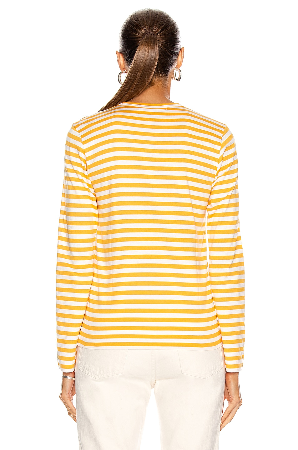 Image 3 of Comme Des Garcons PLAY Small Red Heart Striped T-Shirt in Yellow