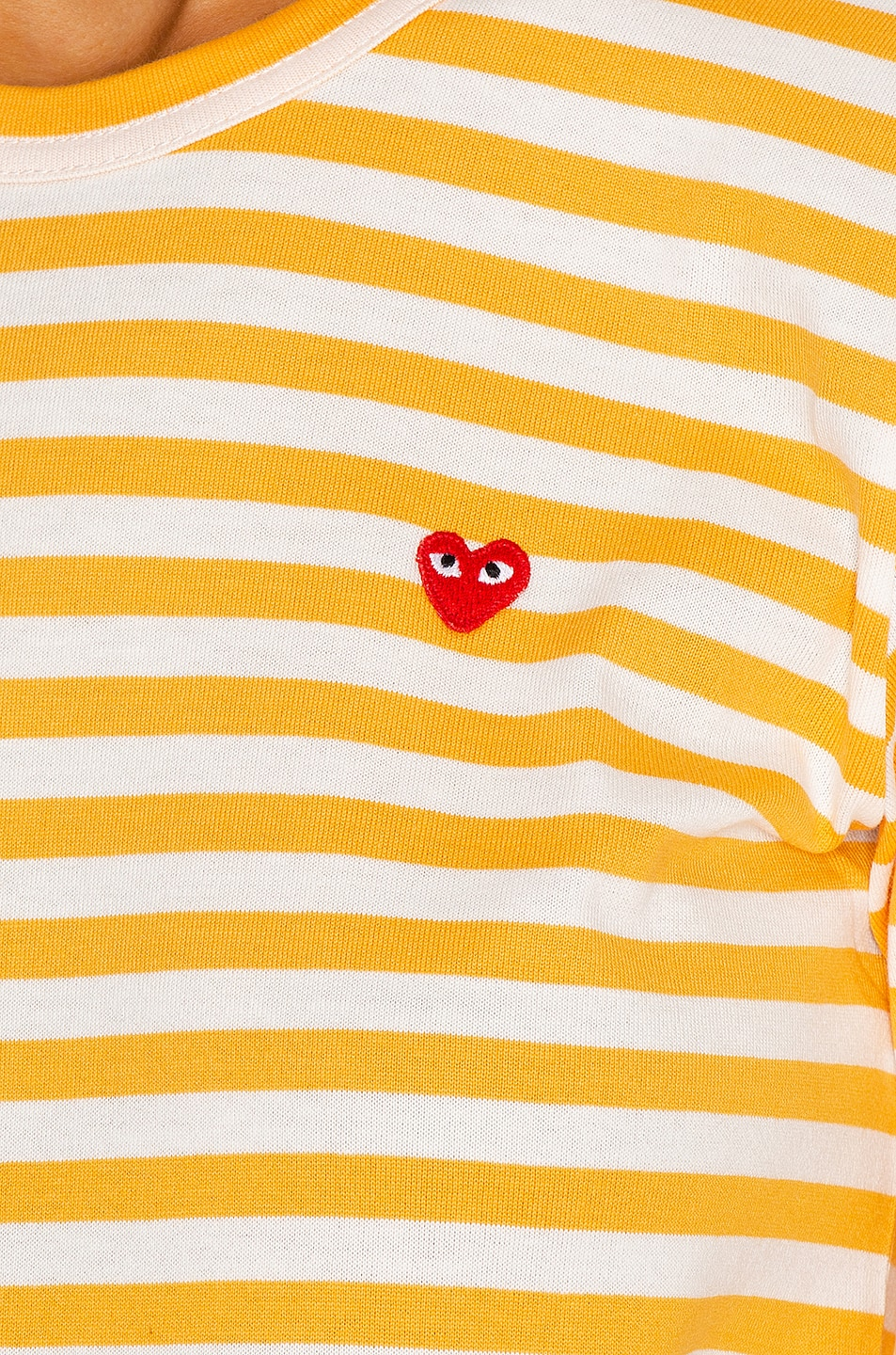Image 5 of Comme Des Garcons PLAY Small Red Heart Striped T-Shirt in Yellow