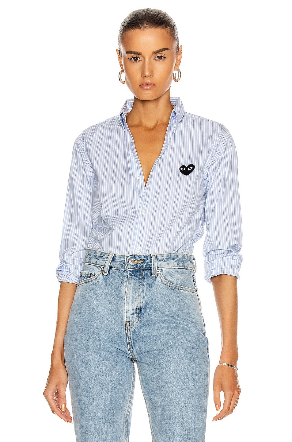 Image 1 of Comme Des Garcons PLAY Broad Stripe Cotton Button Down in Blue