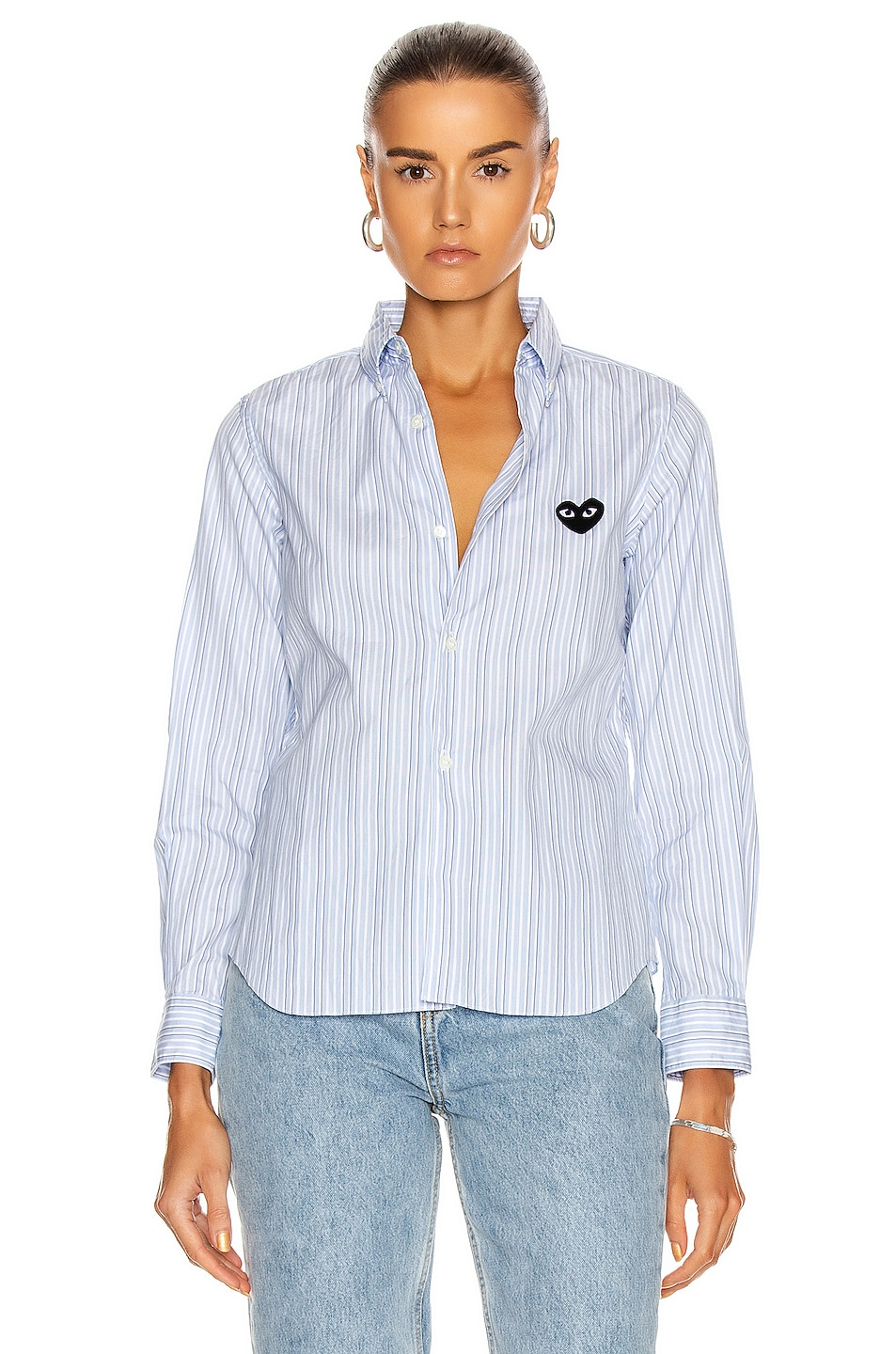 Image 2 of Comme Des Garcons PLAY Broad Stripe Cotton Button Down in Blue