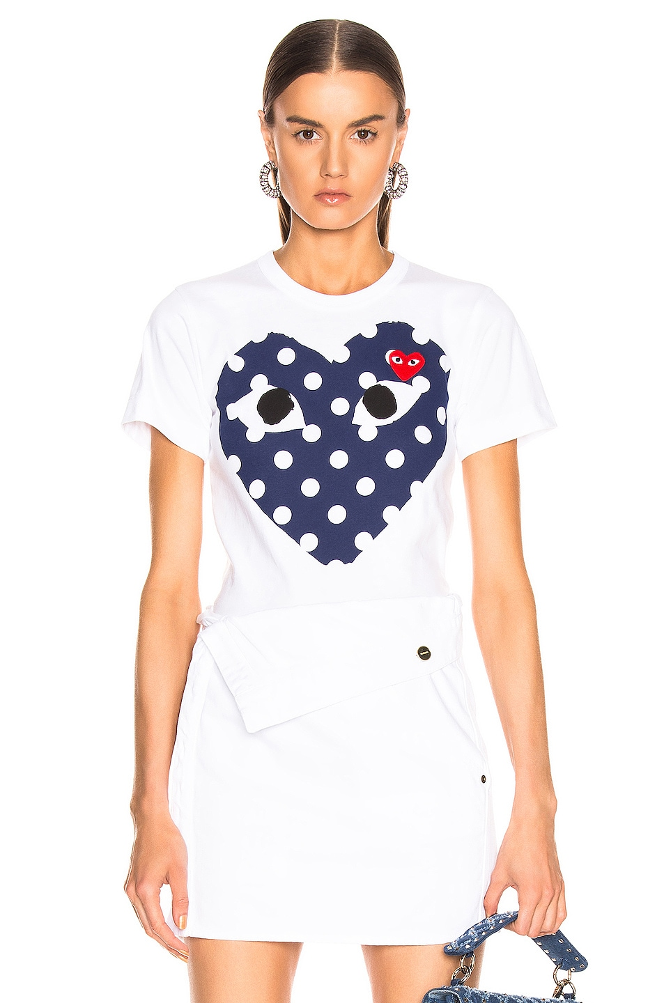 Image 1 of Comme Des Garcons PLAY Logo Emblem Tee in White