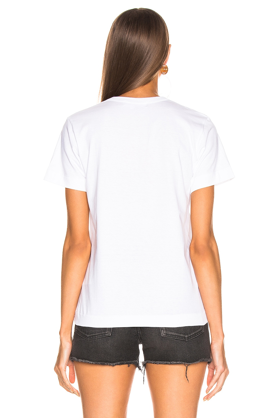 Image 4 of Comme Des Garcons PLAY Logo Emblem Tee in White