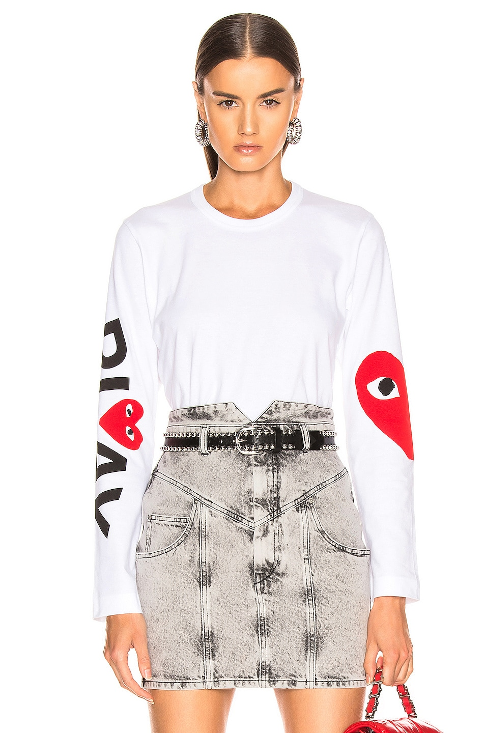 Comme Des Garçons Play Tops COMME DES GARCONS PLAY LONG SLEEVE LOGO EMBLEM TEE IN WHITE
