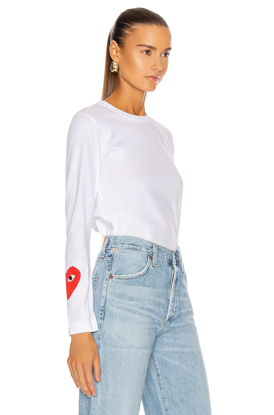 Image 2 of Comme Des Garcons PLAY Long Sleeve Logo Emblem Tee in White