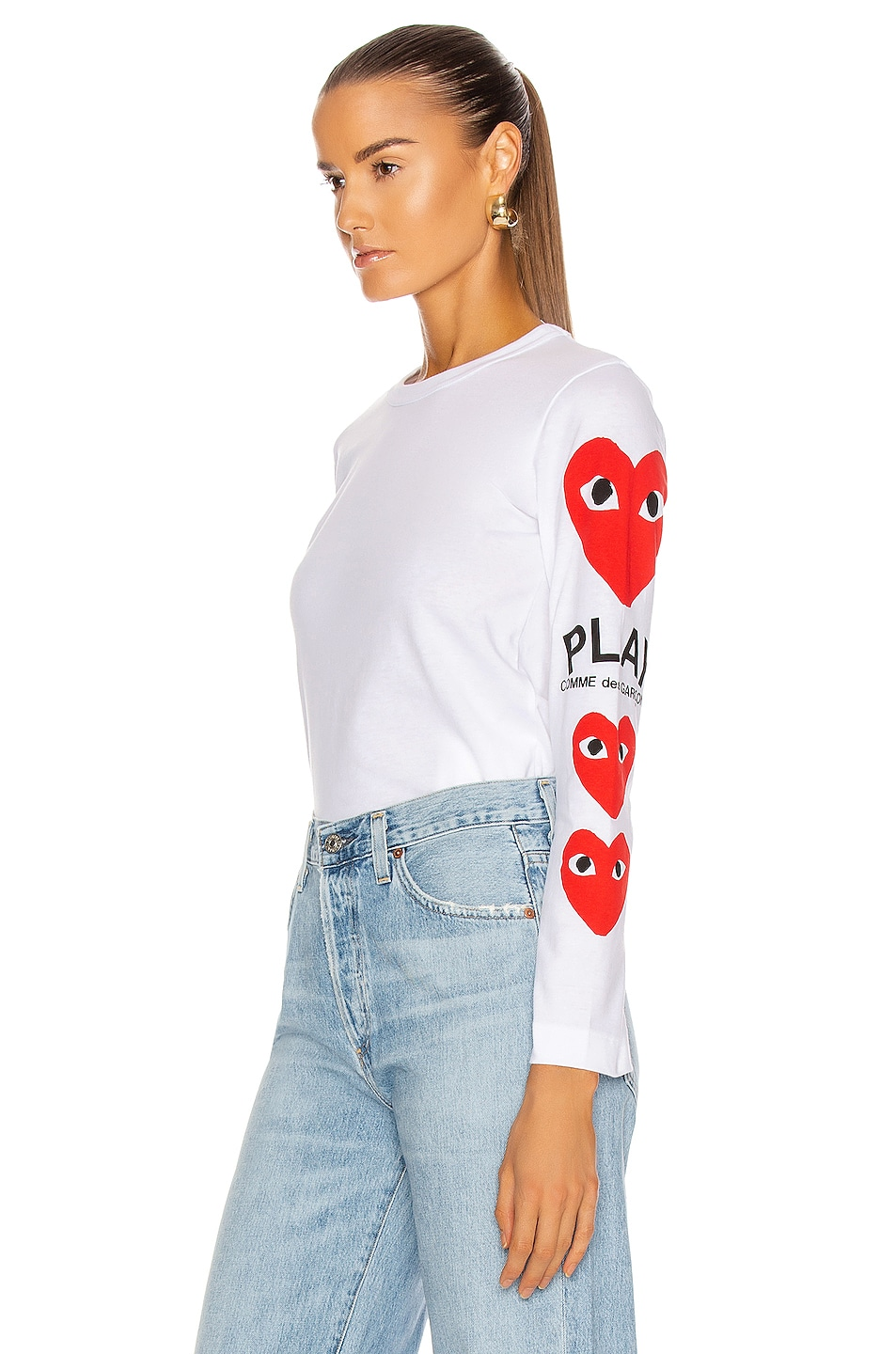 Image 3 of Comme Des Garcons PLAY Long Sleeve Logo Emblem Tee in White