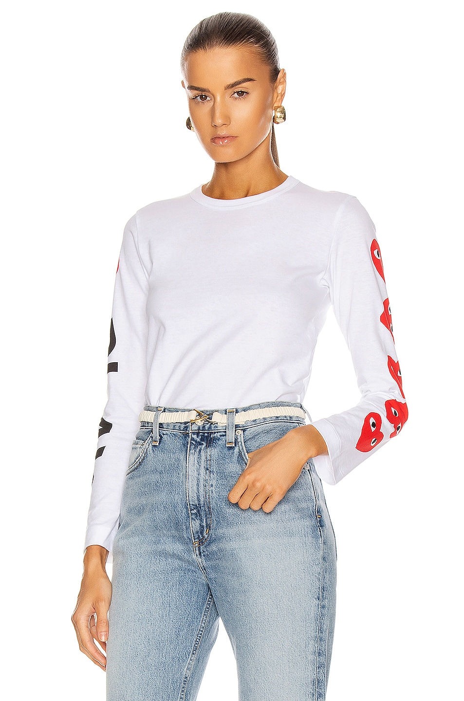 Image 1 of Comme Des Garcons PLAY Long Sleeve Logo Emblem Tee in White