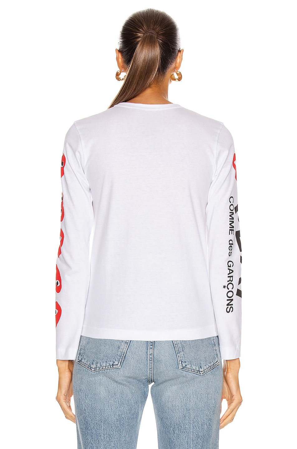 Image 4 of Comme Des Garcons PLAY Long Sleeve Logo Emblem Tee in White