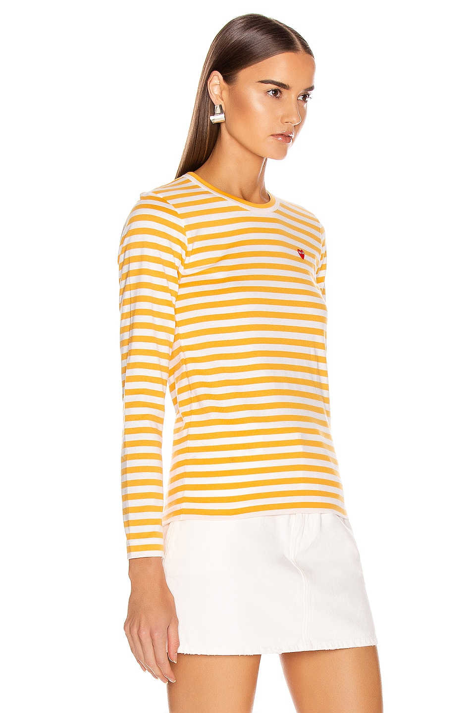Image 2 of Comme Des Garcons PLAY Small Red Heart Striped Tee in Yellow