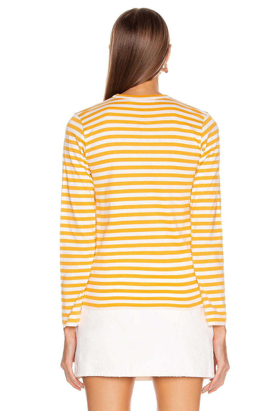 Image 3 of Comme Des Garcons PLAY Small Red Heart Striped Tee in Yellow