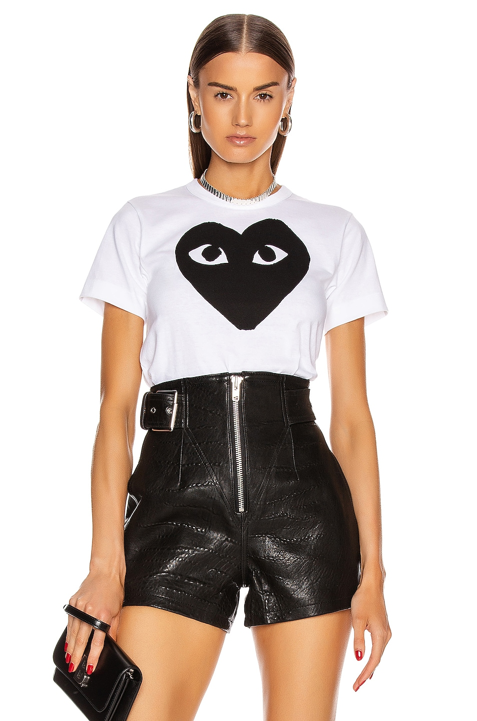 Image 1 of Comme Des Garcons PLAY Cotton Black Heart Emblem Tee in White
