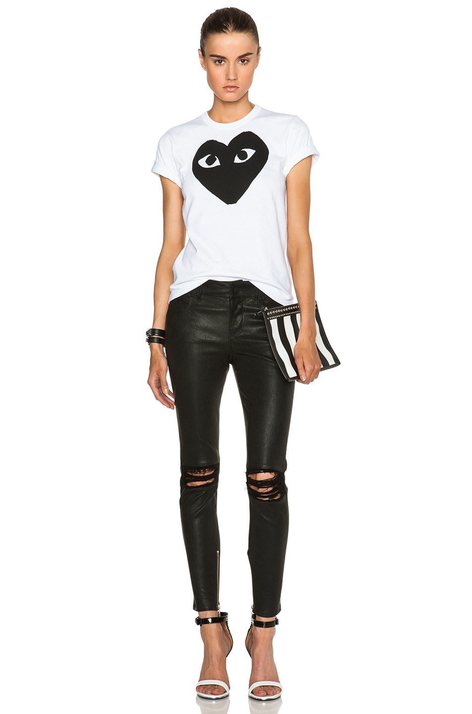 Image 5 of Comme Des Garcons PLAY Cotton Black Heart Emblem Tee in White