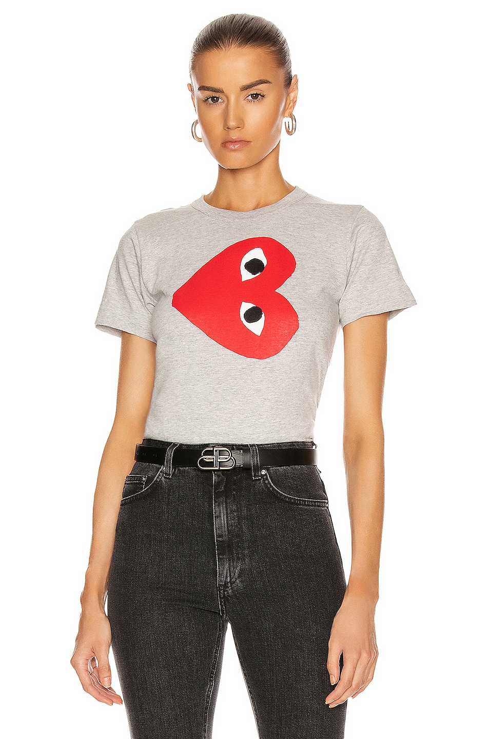 Image 1 of Comme Des Garcons PLAY Logo Tee in Grey