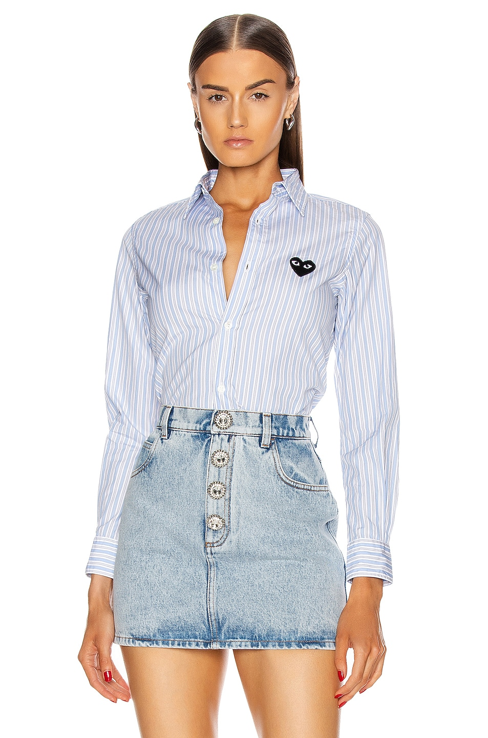 Image 1 of Comme Des Garcons PLAY Striped Shirt in Blue