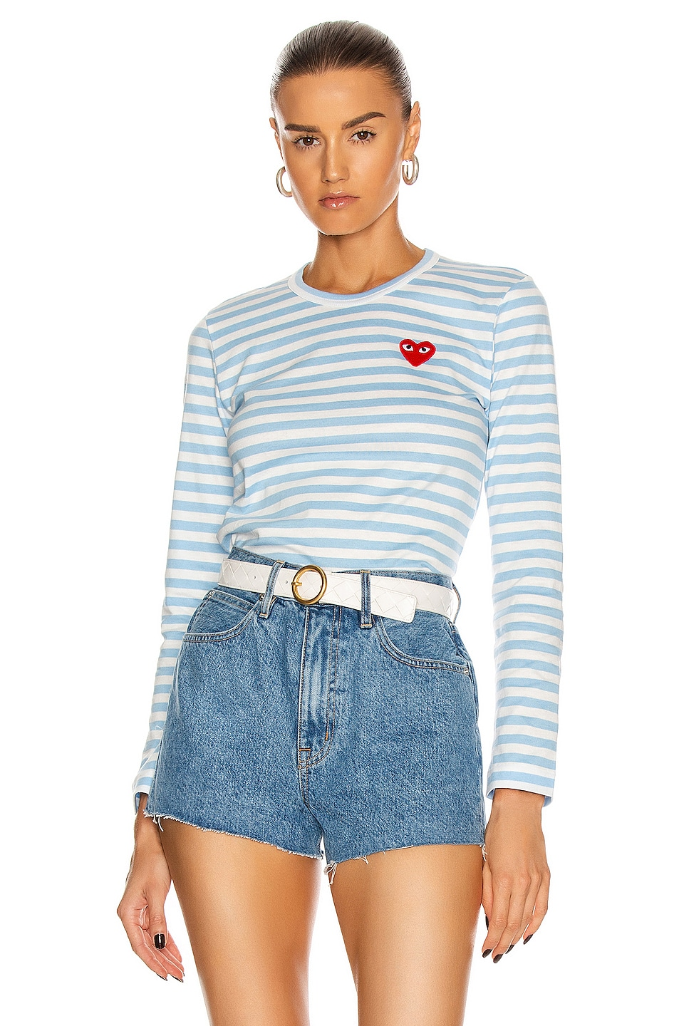 Image 1 of Comme Des Garcons PLAY Striped Tee in Blue