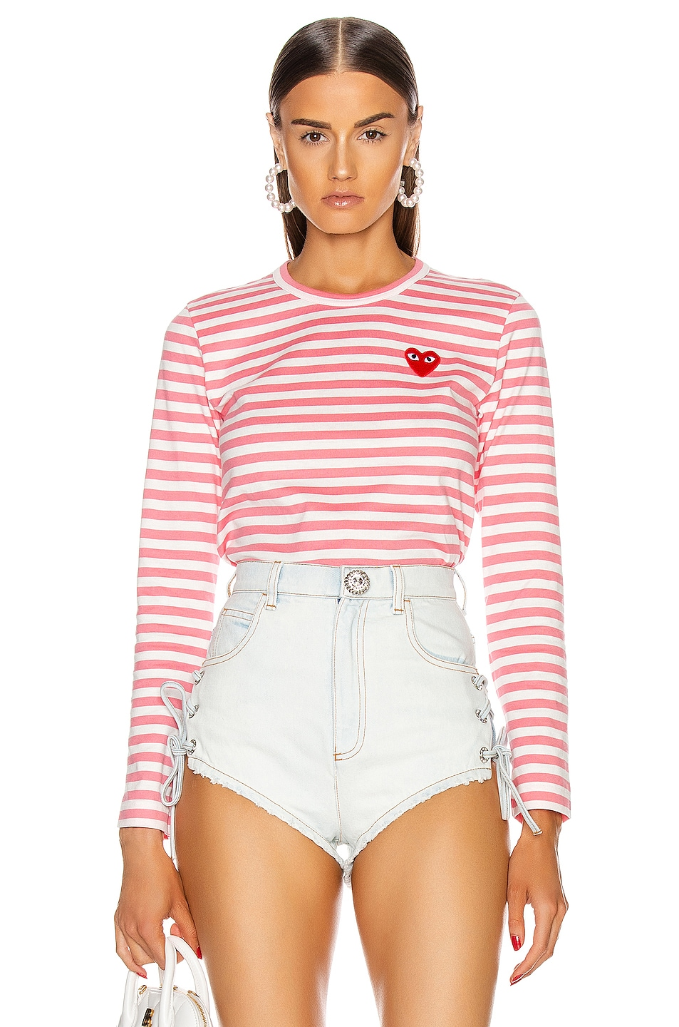 Image 1 of Comme Des Garcons PLAY Striped Tee in Pink