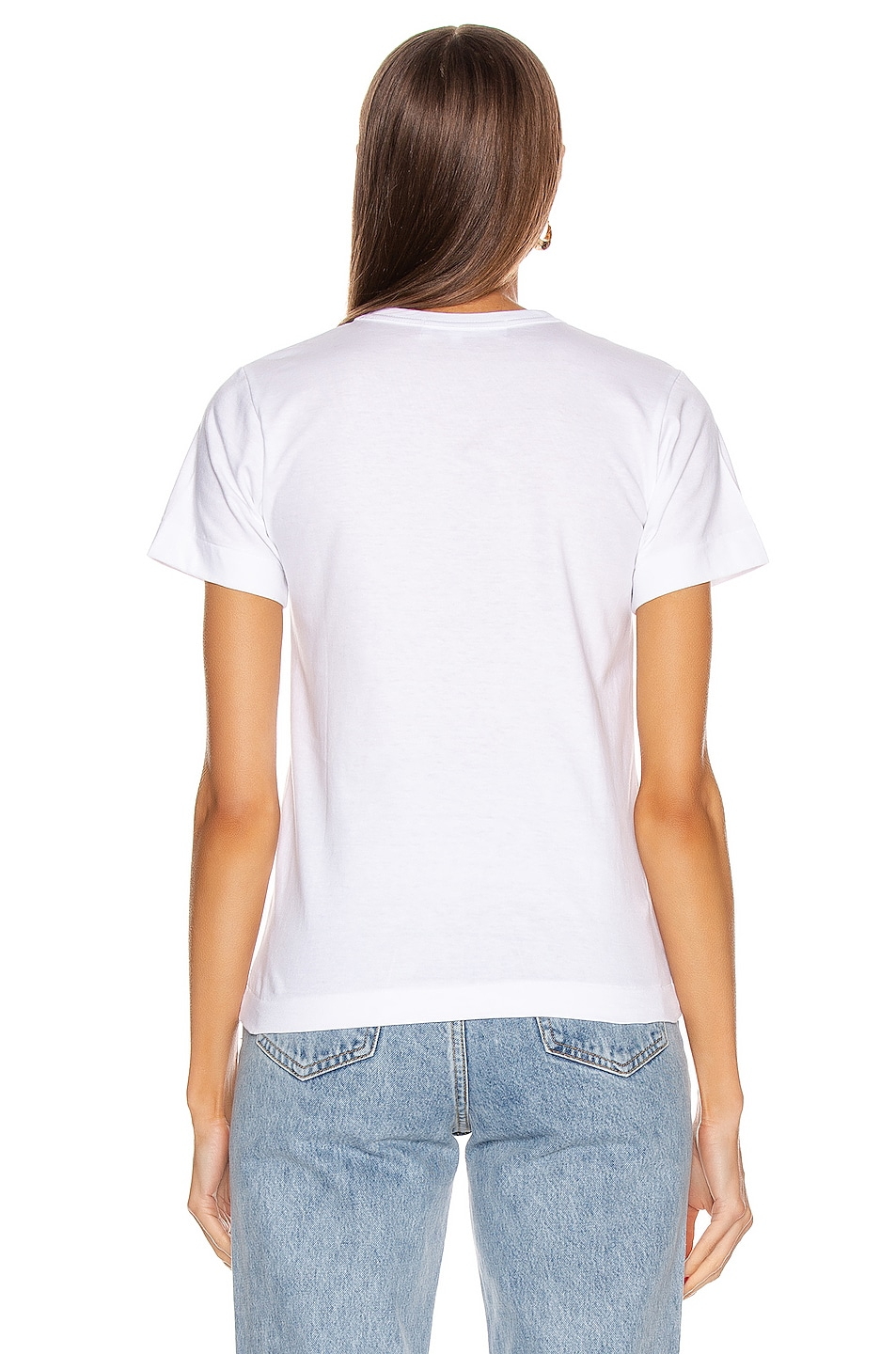 Image 3 of Comme Des Garcons PLAY Cotton Red Emblem Tee in White