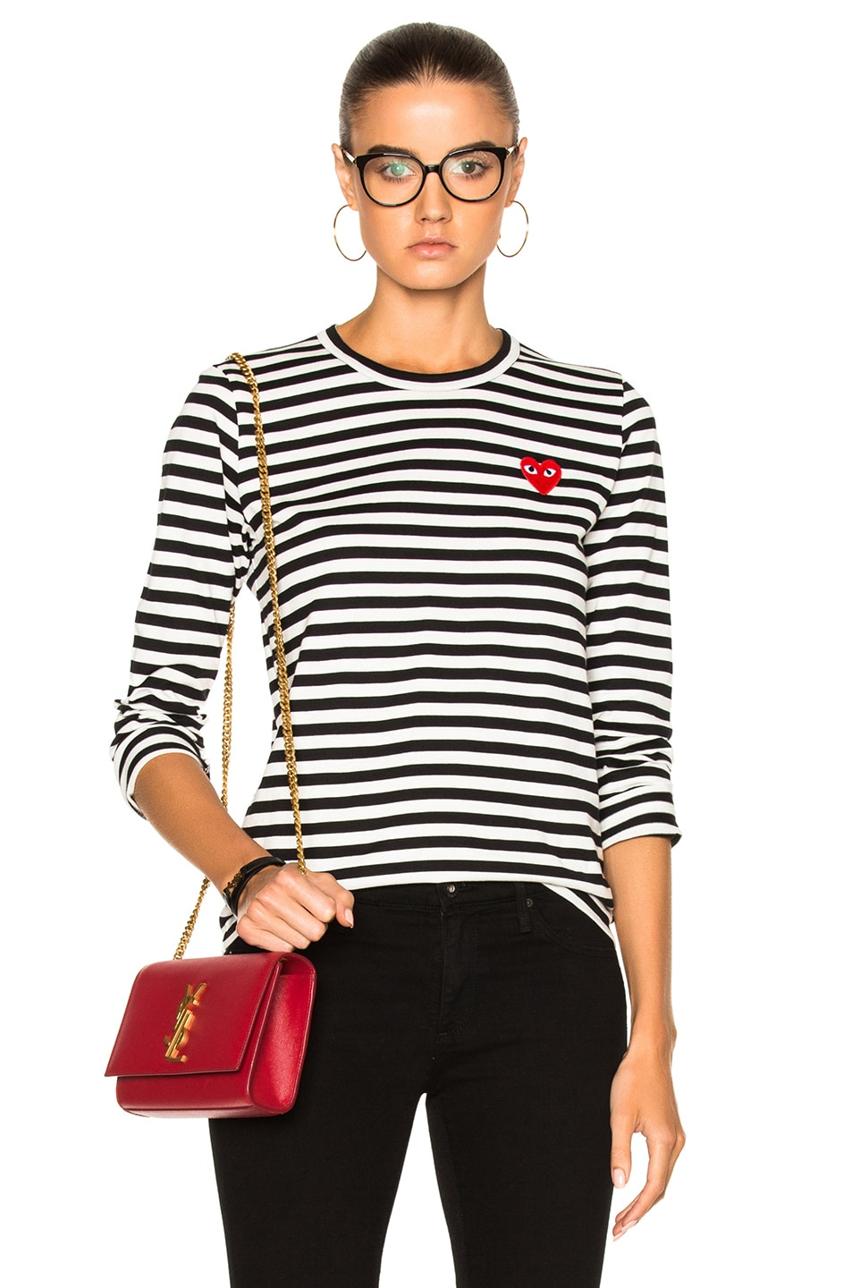 Image 1 of Comme Des Garcons PLAY Cotton Red Emblem Stripe Tee in Black